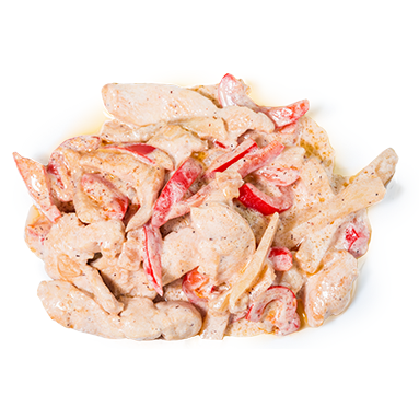 Курица в сливочном соусе с ананасами и болгарским перцем [+$3.42]