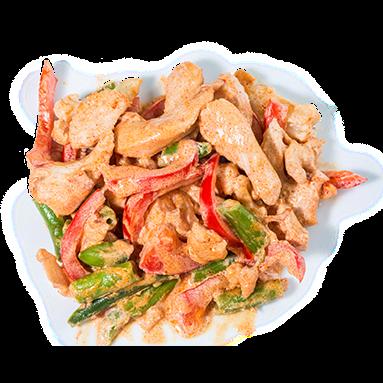 Курица в сливочном соусе с паприкой и овощами [+$3.88]